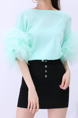 Puff Sleeves Top 2851 - ample-couture