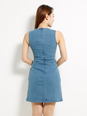 Sleeveless Denim Dress 13335