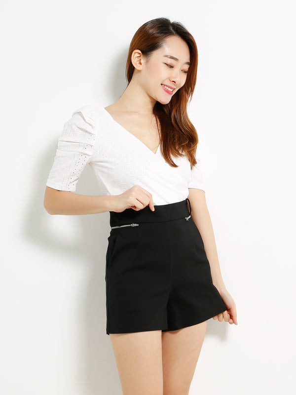 Side Zip Short Pants 13347