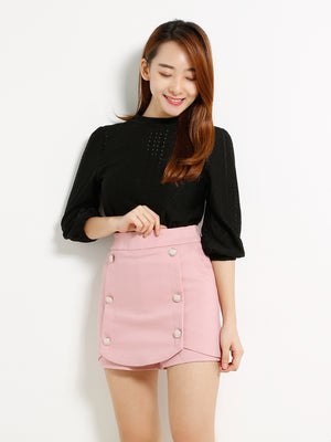 Fake Front Button Skirt 13834