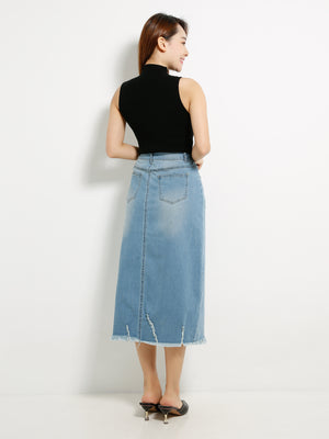 Long Denim Split Skirt 13341