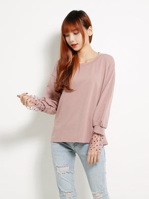 Basic Sweater Attached Polka Dot Sleeve 13352