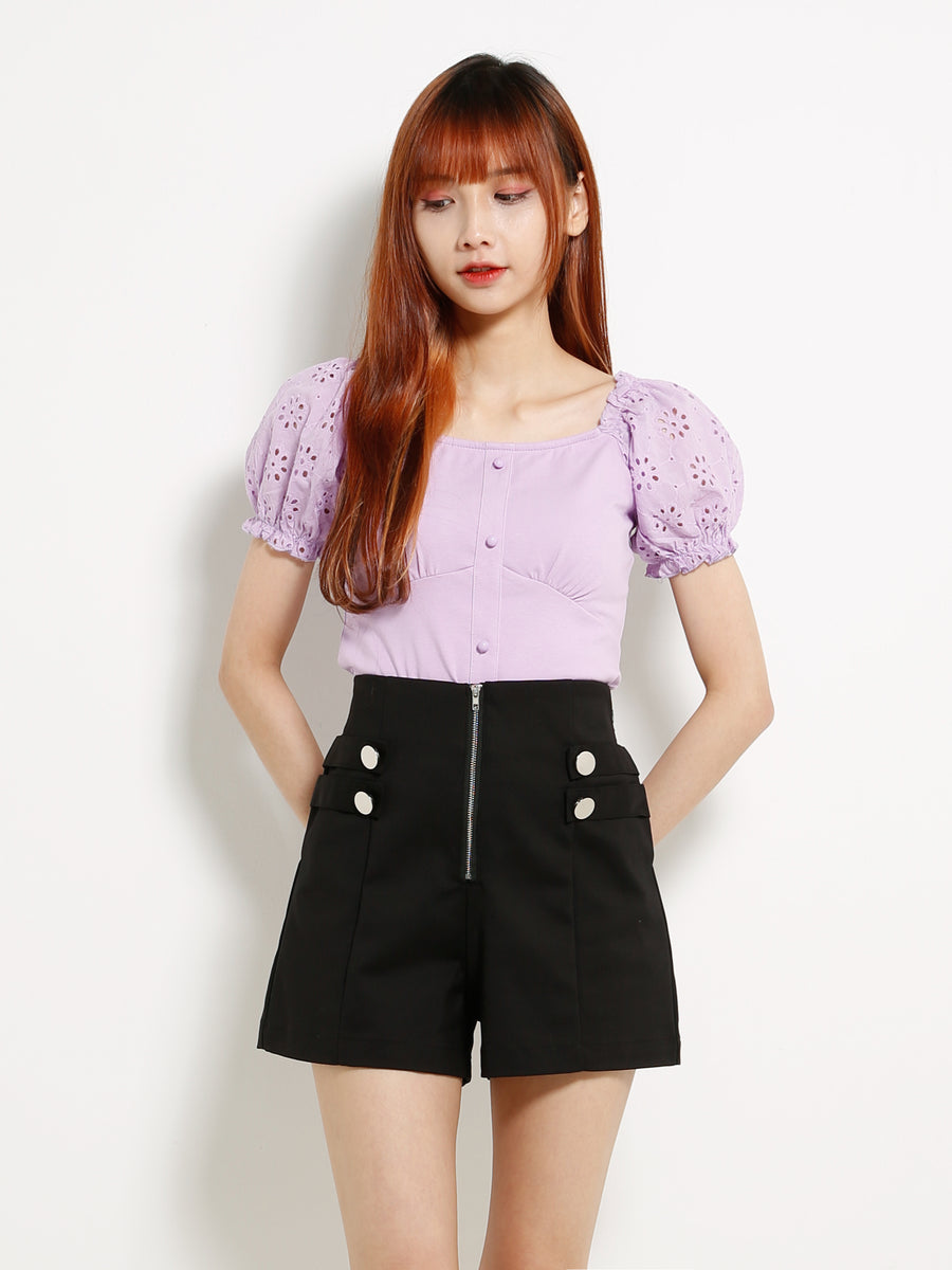 Eyelet Sleeve Top 13319