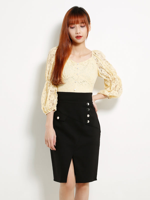 Puff Sleeve Eyelet Lace Top 13337