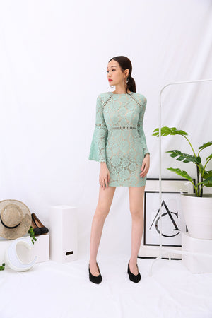 Lace Bell Sleeves Dress 2950