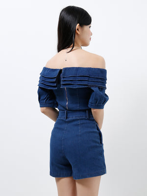 Off Shoulder Denim Top With Denim Short Pants Set 12147