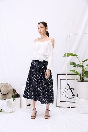 Blouse with Polka Dot Skirt Set 2930