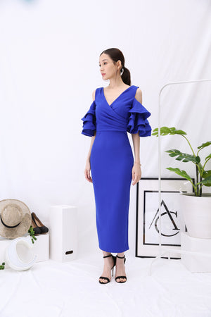 Peplum Sleeves Long Dress 2937 - ample-couture