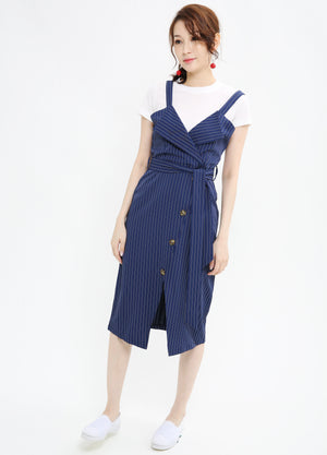 Stripe Print Midi Dress 1029