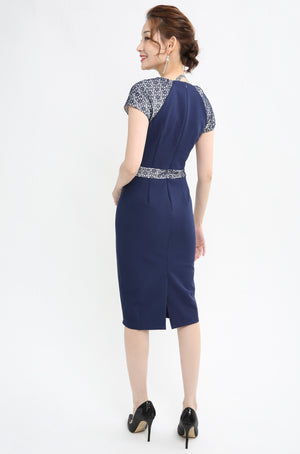 Lace Trim Fitted Dress 1001 - Ample Couture