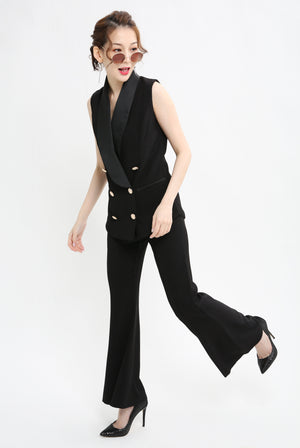 Button Up Suit with Pant Set 1008 - ample-couture