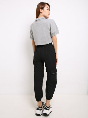 Front Pocket With Belt Long Pants 14059