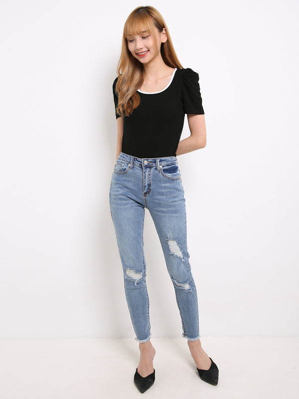 Denim Ripped Long Pants 14144