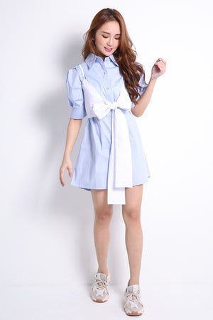 Casual Bow Strap With Shirt Dress Set 9546A