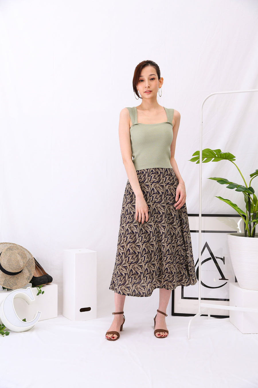 Leaf Long Skirt 3002 - ample-couture