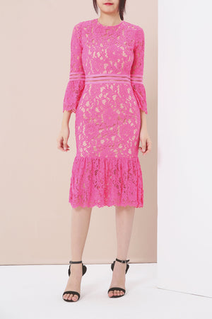 Flounce Sleeves Lace Dress 3920 Pink / S Dresses
