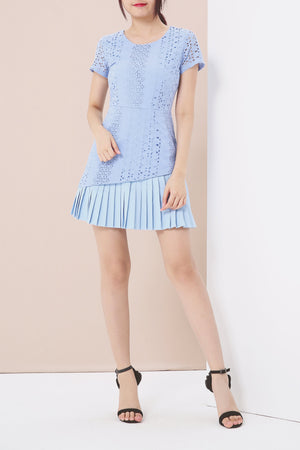 Crochet With Pleated Trim Romper 3893 Blue Jumpsuits