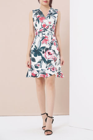 Floral Print Dress 3916 - ample-couture