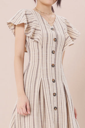 Striped Button Dress 3944 - ample-couture