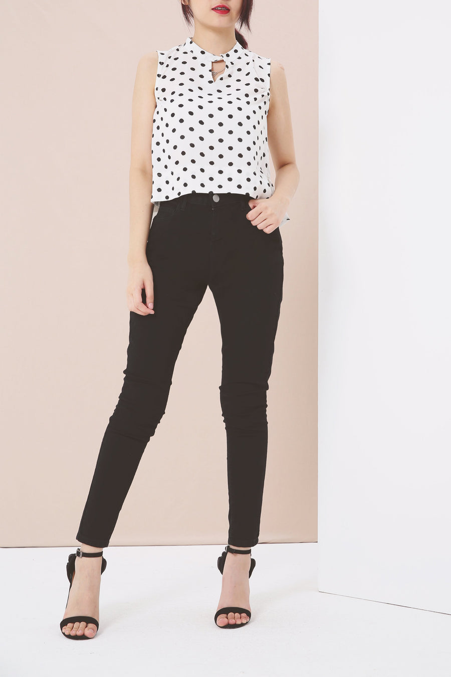 Polka Dot Top 3947 Black / S Tops