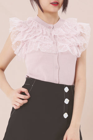 Frill Detail Knit Top 3876 - ample-couture