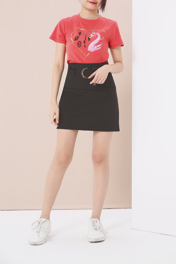 Sequin Embellished Tee (Flamingo) 3942 - ample-couture