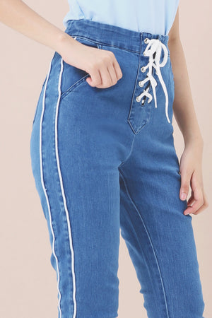 Lace Up Jeans 3965 - ample-couture