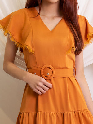 Cape Sleeve Dress With Tie Up Belt 11525