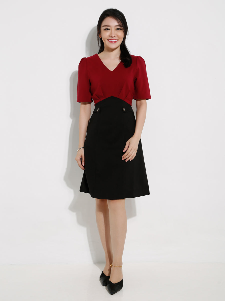 Waist Button Dual Tone Dress 12893