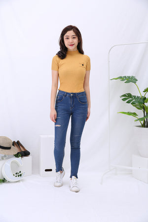 Turtle Neck Rib Knit Top 3158