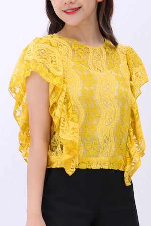 Lace Ruffle Sleeveless Top with Tie-Back 3180