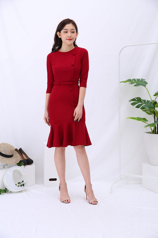 Side Button Dress 3199 - ample-couture