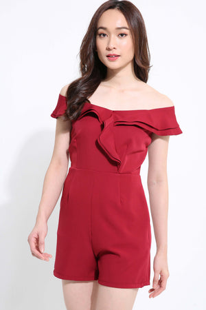 Off Shoulder Layer Playsuit 1151