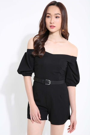 Off Shoulder Plain Playsuit 1158
