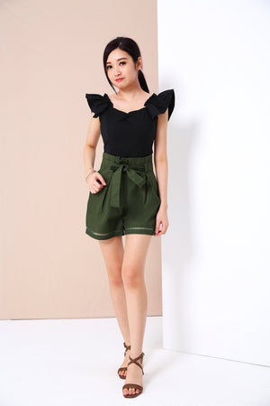 High Waist Flare Shorts 3342 - ample-couture