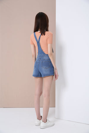 Denim Suspender Shorts 3382