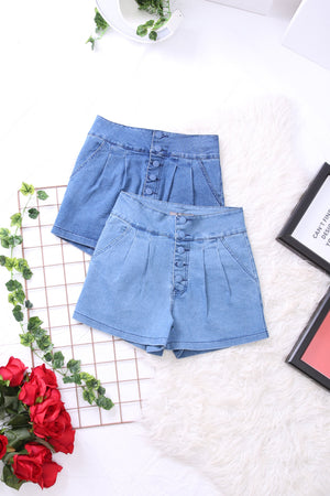 High Waist Denim Shorts 3379 - ample-couture
