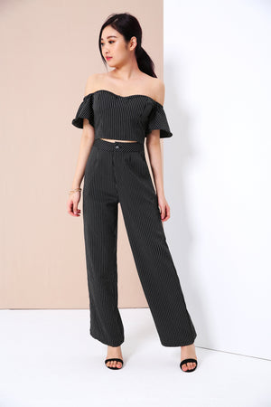 Striped Bustier Top with Wide Leg Pants Set 3394
