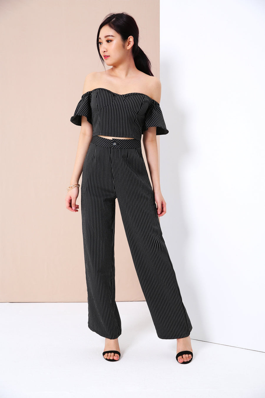 Striped Bustier Top with Wide Leg Pants Set 3394 - ample-couture