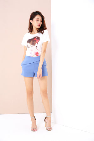 Graphic Print Dip Hem Tee 3415 - ample-couture