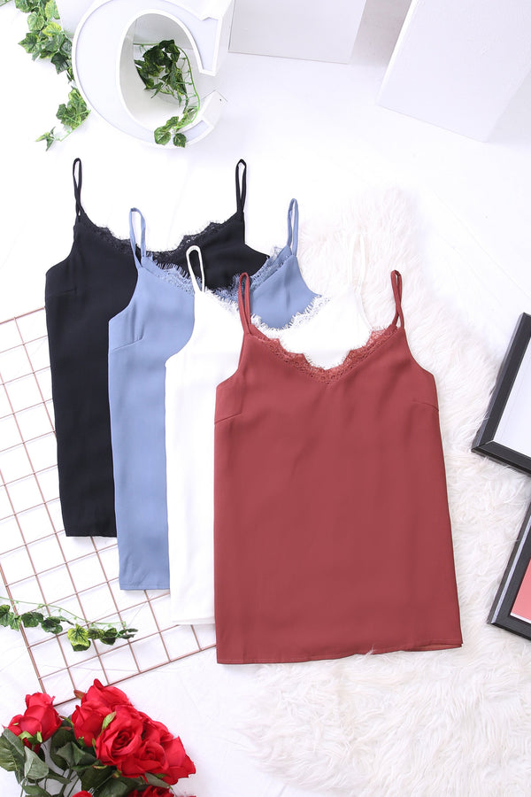 Lace Trim Cami Top 3418