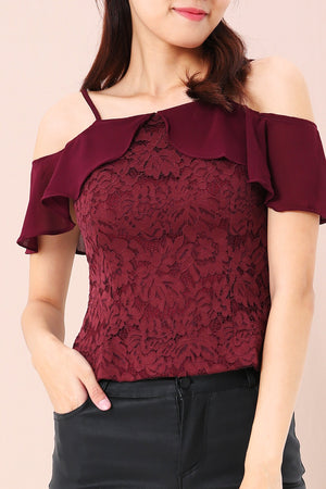 Frill Cold Shoulder Top 3421 - ample-couture