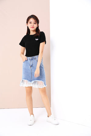 Denim Skirt with Lace Trim 3432 - ample-couture