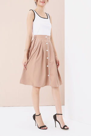 Button Up Flare Skirt 3558 Brown Bottoms