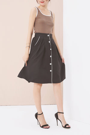 Button Up Flare Skirt 3558 Black Bottoms