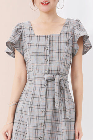 Plaid Print Button up Dress 3574 - ample-couture