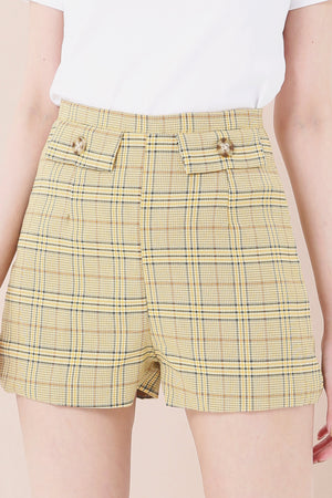 Plaid Flare Shorts 3584 - ample-couture