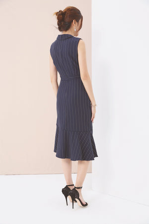 Striped Asymmetric Dress 3596 - ample-couture