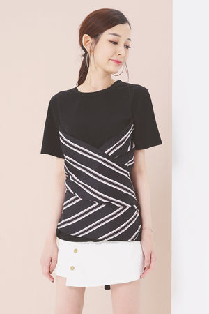 Stripe Print Top 3637 - ample-couture