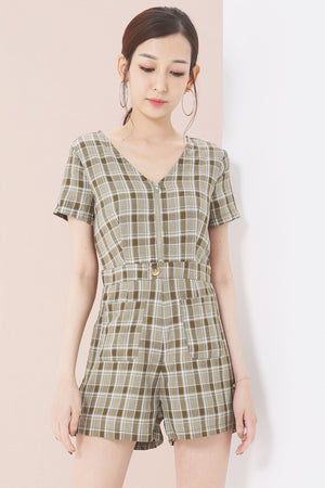 Checked Print Jumpsuit 3683 - ample-couture